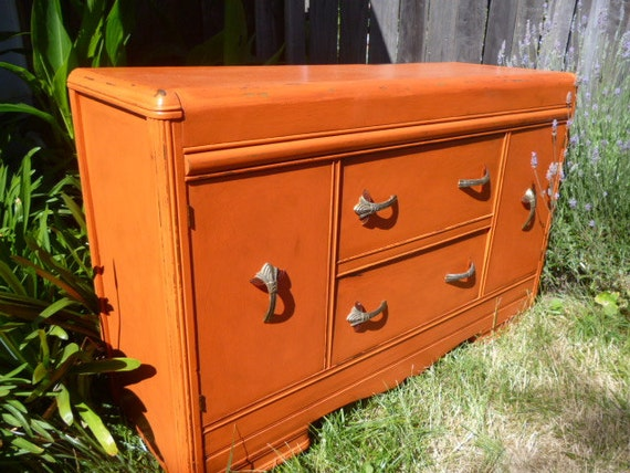 Vintage Art Deco Dresser Buffet Changing Table Painted