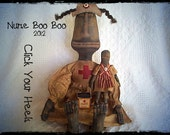 Primitive black doll pattern Nurse Boo Boo  click your heels
