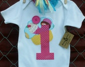 Cupcake Applique Baby Girl Birthday Onesie and Hair Bow Set