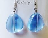 Beautiful Blue Glass Drop Earrings