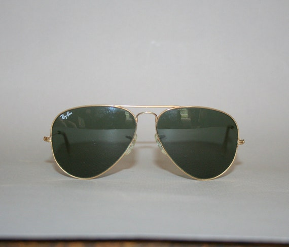 80s RAY-BAN SUNGLASSES / L0205 Gold Aviators with Case