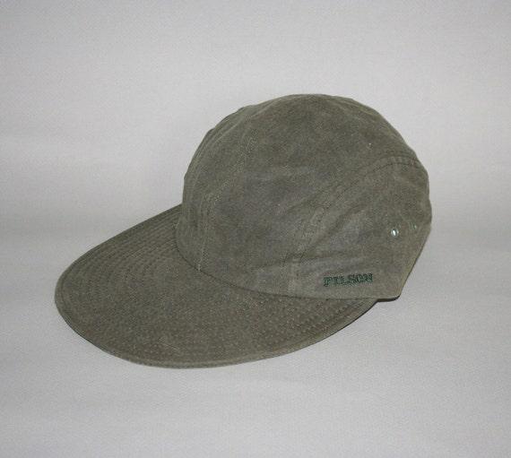 80s FILSON HAT / Green Tin Cloth Baseball Style, osfa