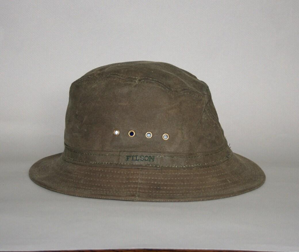 Filson Packer Hat: 80s FILSON HAT / Green Tin Cloth Packer Style Osfa
