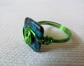Reserved Listing Size 10 and a Half Wire Wrap Ring Blue Mix Ceramic Green Wire Plus Size Rings Under 15 Dollars