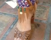 Leather fringe anklet