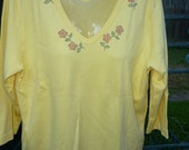 Hand Decorated 3/4 Sleeve V-Neck T-Shirt