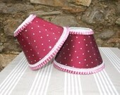 Raspberry lampshades with dots