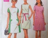 1960s Vintage Sewing Pattern Simplicity 8083 Princess Line Mod Dress Vtg Size 12 Bust 34