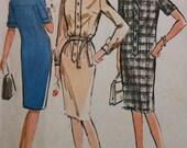 1960 Vintage Dress Sewing Pattern McCalls 7022 Shirt Dress Bust 32''