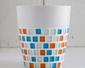 Blue and orange mosaic plant pot