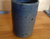 Vintage french Handmade Vase, Blue with brown dots