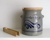 German Salt Glaze Stoneware Gurken Pot with Tongs