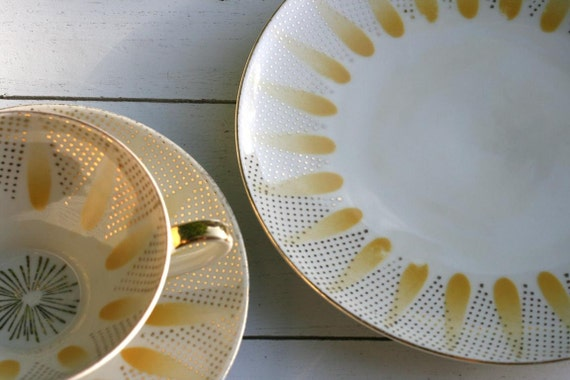 RESERVED for Ultrasushi Vintage 1940s Teacup and Saucer Trio Set  Sunshine Yellow and Gold Gilded.