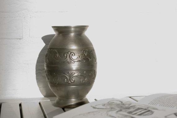 Vintage German Pewter Ornate Vase