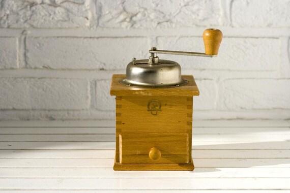 Vintage German Wooden Dovetail Coffee Grinder Klingenthal
