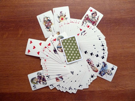 Vintage Playing Cards Russian Reproduction Set with Green Back