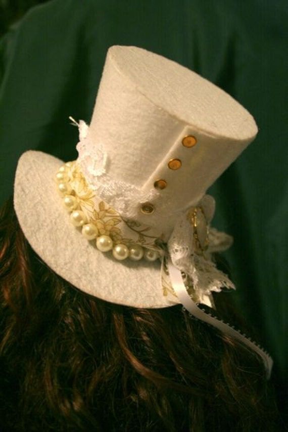 White and Gold Angel Lacy Formal Mini Top Hat with Pearls