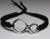 Infinity Bracelet with black nylon thread