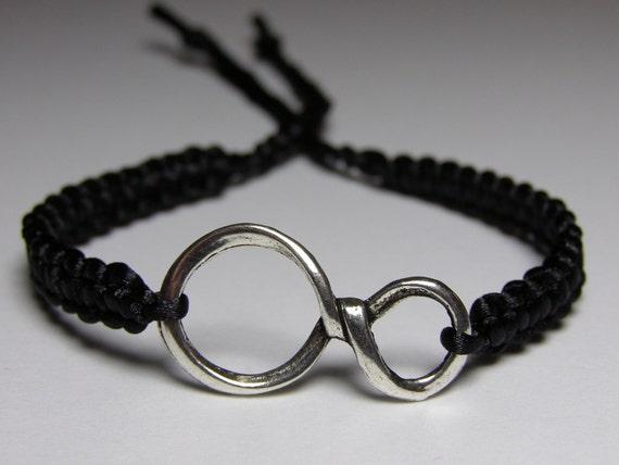 Infinity Bracelet with black nylon thread
