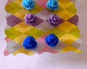 Earrings - Roses - Set of 4 Pair -  Lime Green, Blue, Purple and Royal Blue - Bridesmaid Gift
