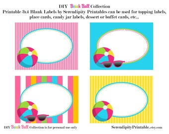 Instant Download: Beach Ball Pool Printable Food Labels -Digital File