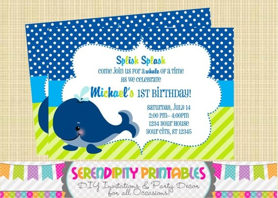 DIY Whale of a Time Printable Invitation -Personalized Invitation by Serendipity Party Shop