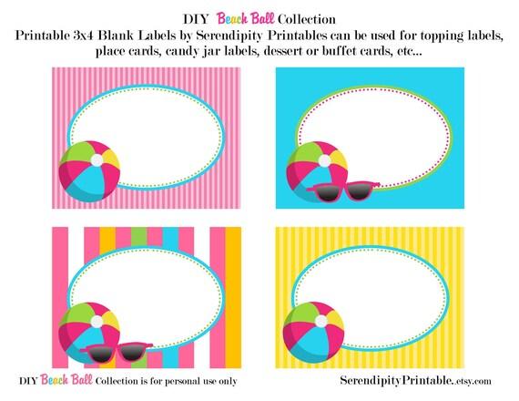 Instant Download: Beach Ball Pool Printable Food Labels -Digital File