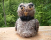 Needle felted owl with bow tie