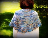 Handpainted cotton  summer shawl in blue hues