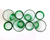 8 Vintage Green Coca-Cola Glasses