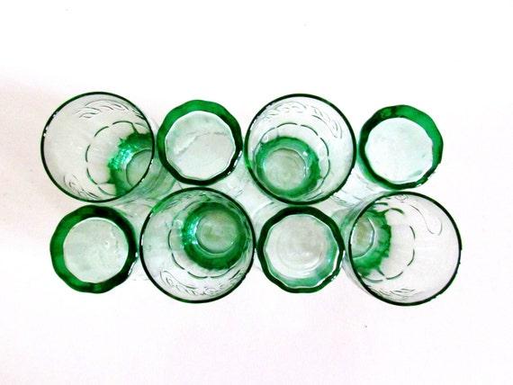 8 Vintage Green Coca-Cola Glasses