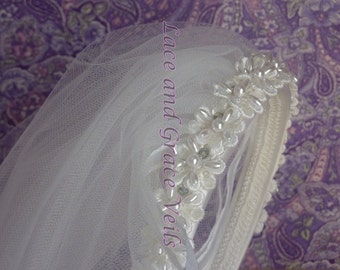 First Holy Communion Veil on Sequin/Pearl/Rhinestone Headband, White with Choice 12 Trims