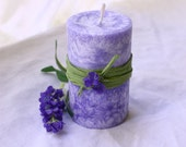 Lavender - Handmade palm wax pillar candle with very pleasant and sweet lavender aroma