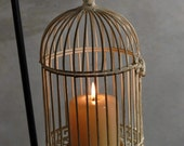 Candle Holder - Antique Style White Metal Birdcage Candle Holder