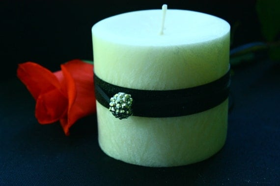 Chanel no. 5 (type) pillar candle. A popular women's perfume made by Coco Chanel with top notes of ylang ylang and neroli, middle notes of r