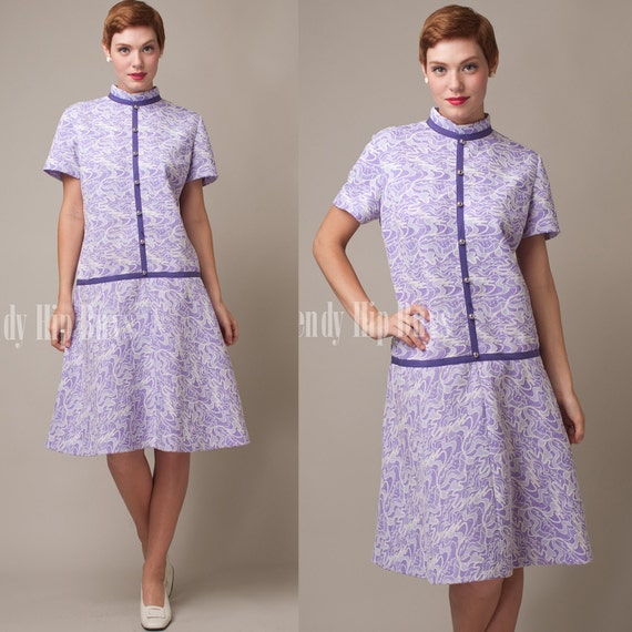 SALE - Vintage 60s MOD Purple Abstract Embossed Knit Day Dress - L/XL