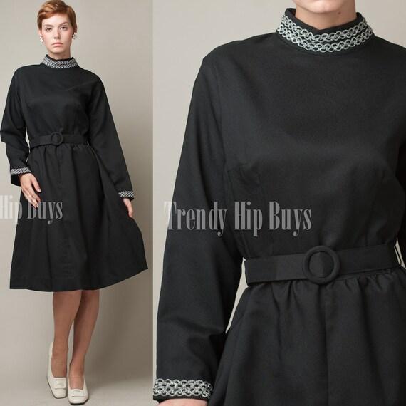 SALE - Vintage 60s MOD Black Scooter Aline Knit Mini Dress - XL/1XL