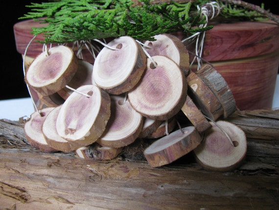 """24 wood price/gift tags made from juniper wood in BC, Canada. 3/4"""" to 1"""" round"""