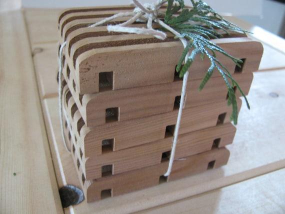 "Soap deck, Soap saver. Five all natural western red cedar. 2 3/4"" x 3 3/4"""