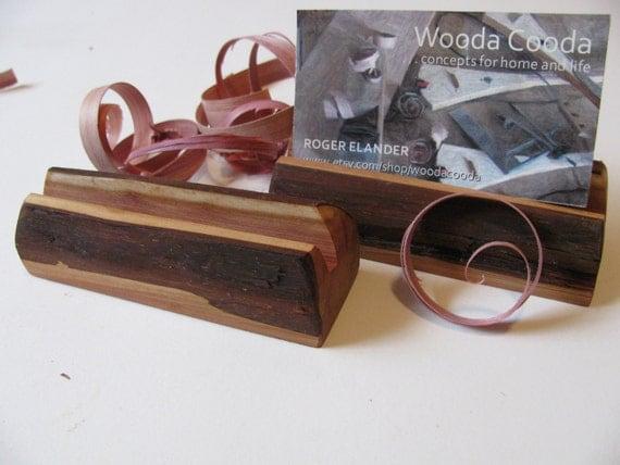 Wood business card holders, two custom made holders, Juniper.
