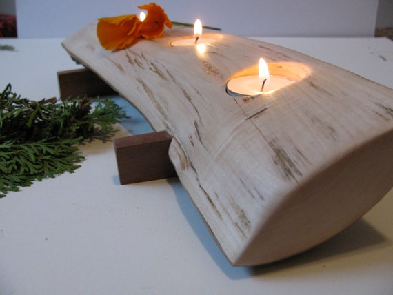 Split log candle holder. Rustic wood candle holder. Tree slice. Wooden candle holders.
