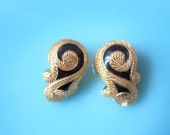 Signed Christian Dior Vintage Clip-On Earrings.Gorgeous Cleopatra Style.