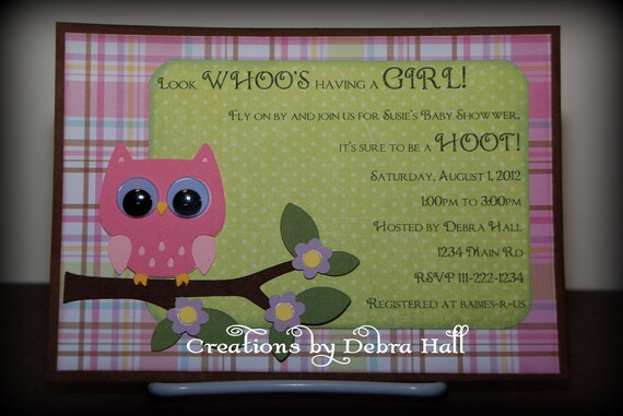 Handmade Owl Baby Shower Invitation
