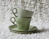 Set of Grindley sage green cups and saucers