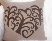 PS008 my love heart cushion  / pillow cover decorative . Handmade. applique taupe and chocolate brown linen. COVER ONLY