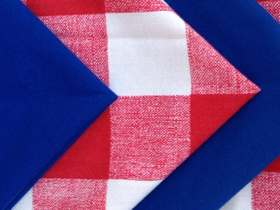 Four Red, White, and Blue Cloth Napkins-Vintage Summer Table Set of 4 Premium Quality