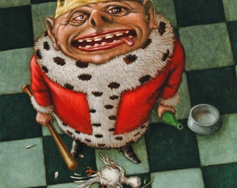 Lowbrow Pop surrealism limited edition art print by Pete Gorski titled: Bad King. Bad.