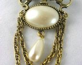 Steampunk Vintage Pearl brooch