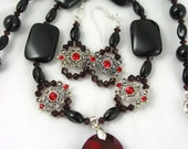 Beaded Statement Necklace Earring Set Black Agate Ruby Red Pendant