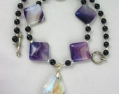 Handmade Beaded Necklace Statement Crystal Pendant purple black